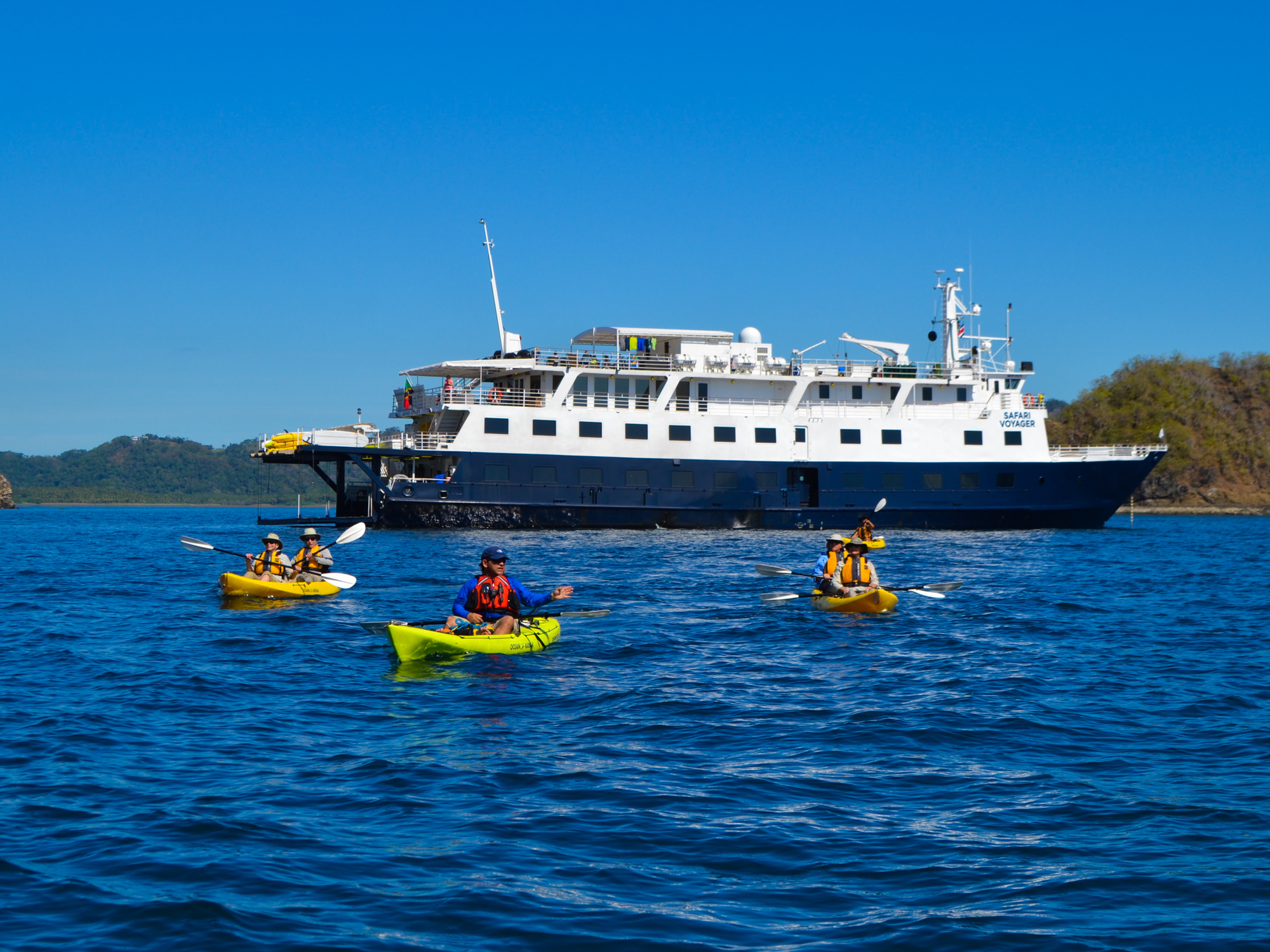 Kayakers enjoying waters from Costa Rica Small Ship Cruise