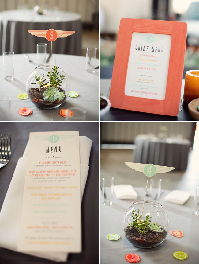 succulent centerpieces with airplane theme