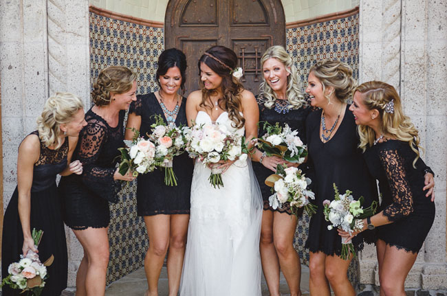 Black Lace Mismatched Bridesmaids Dresses - 9 Bridesmaid Trends for Your 2015 Wedding on earlyivy.com