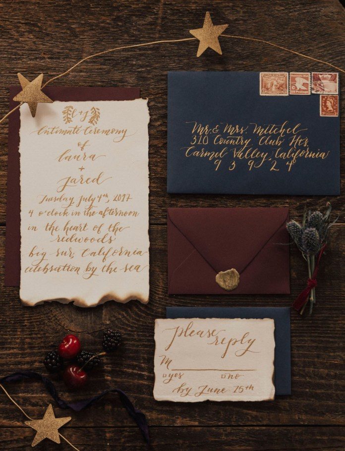 red white and blue invitation