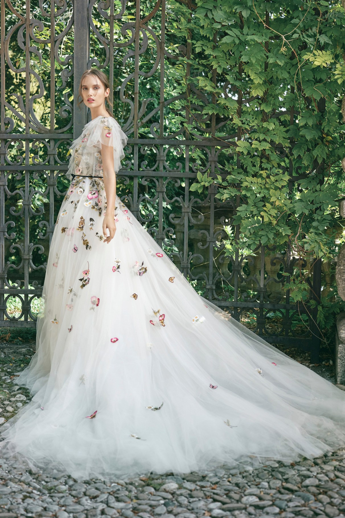 monique lhuillier floral wedding dress