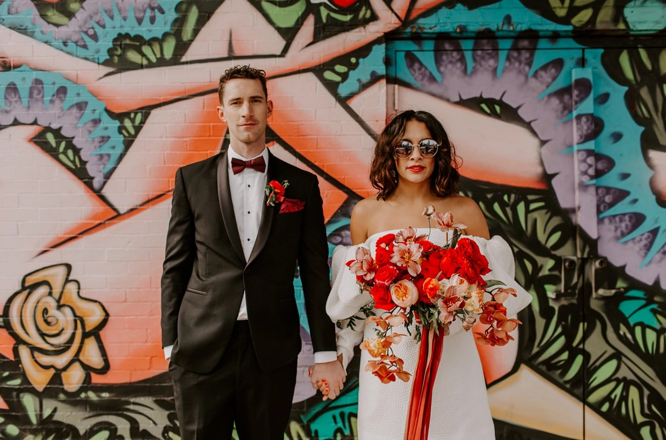 Mid-Century Meets 70s Glam With Two Rad Bridal Looks