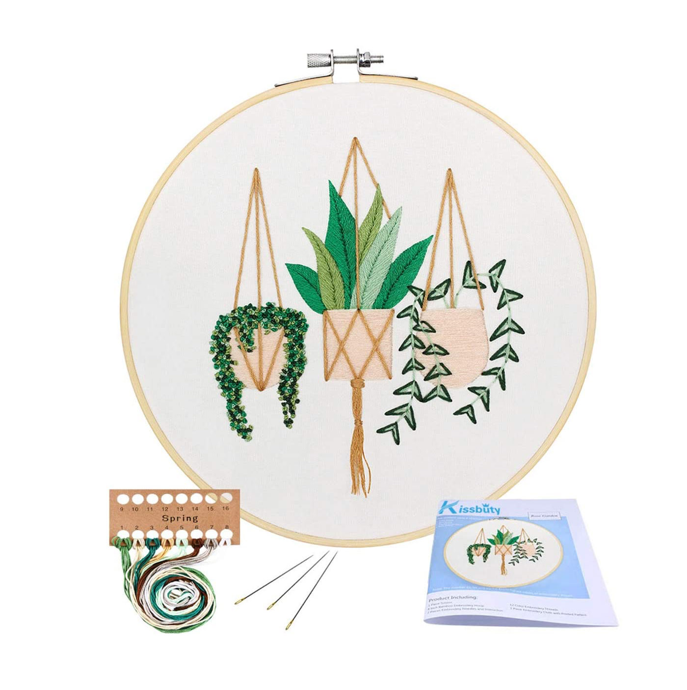 embroidery kit with hanging plants