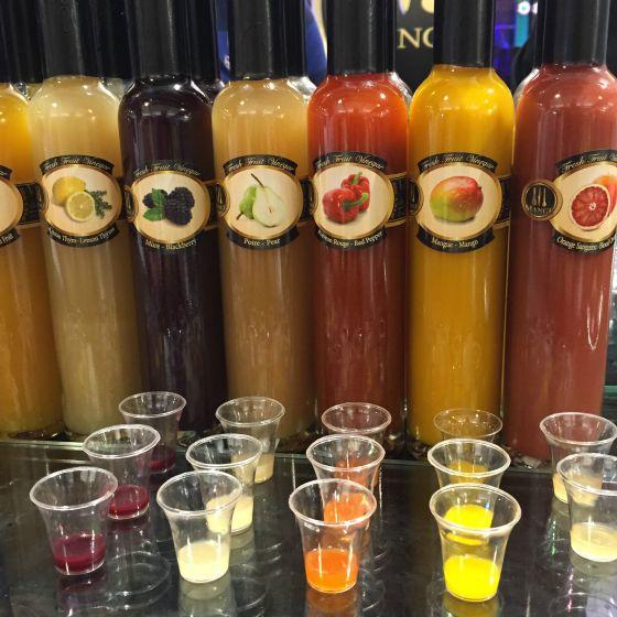 Mange colorful vinegars from the  Boston Public Market