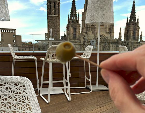 Stuffed olives on the rooftop in Barcelona