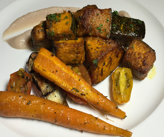 roasted vegetables with turnip on Camana Bay Flavor Tour