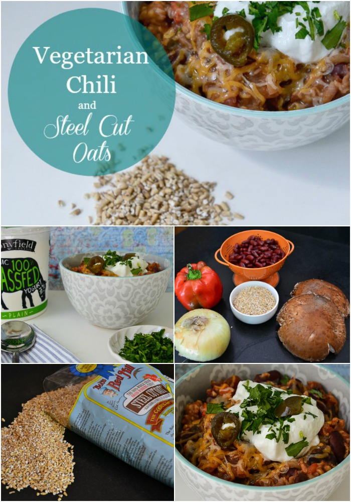 Vegetarian chili with steel cut oats and yogurt