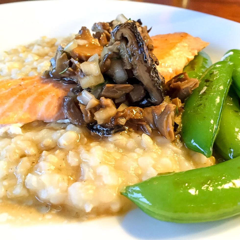 Sitka, Alaska Silver back salmon, mushroom risotto, snap peas