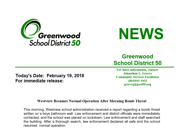 Greenwood Middle School: Bomb Threat