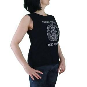 camiseta sin mangas organica antes yoga que sencilla negra y blanco lateral