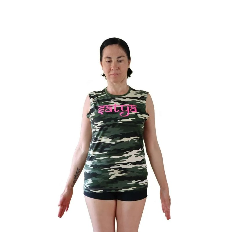 camiseta orgánica sin mangas de yoga satya