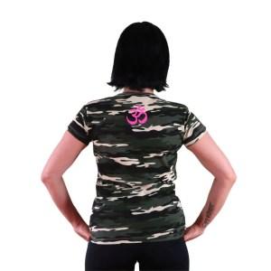 camiseta vegana ahimsa con Om en espalda