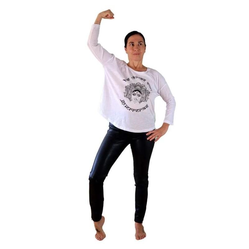 camiseta organica mnaga 3/4 las chicas son guerreras