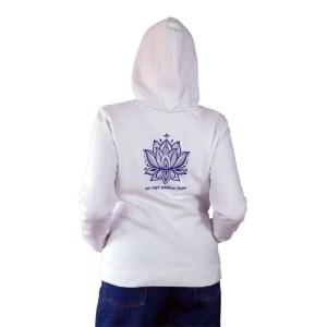 Sudadera con capucha organica Buda con su mantra y loto en espalda