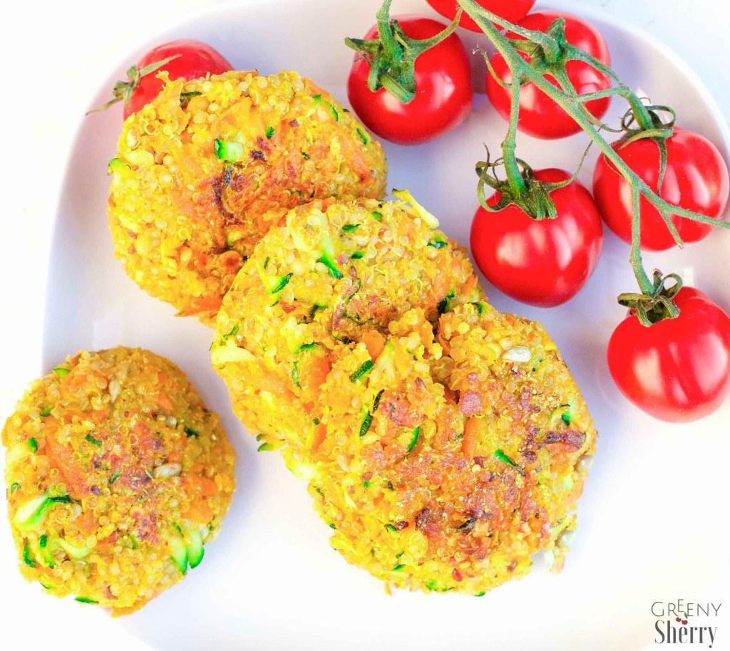 Knusprige Quinoa - Veggie Kurkuma Patties (Glutenfrei & Vegan) www.greenysherry.com