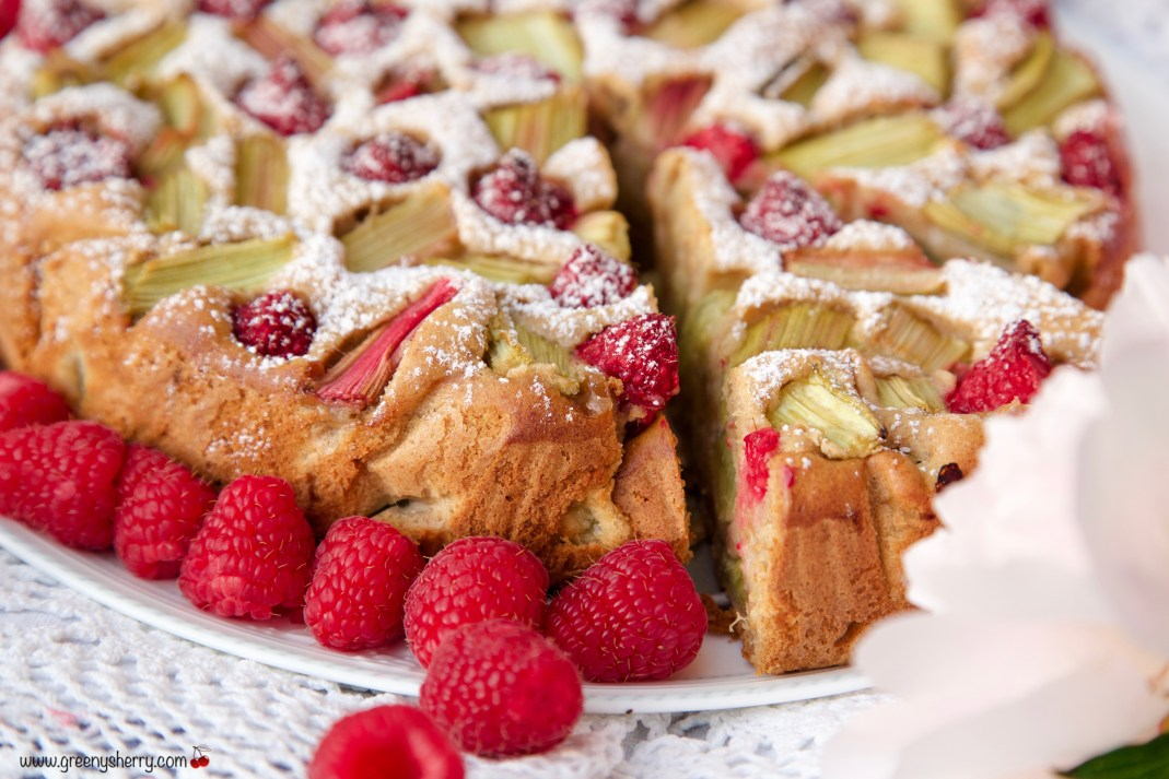 Rhubarb cake with raspberries and marzipan (vegan)