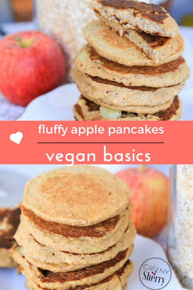 English recipe: vegan basics - fluffy apple pancakes (gf option) www.greenysherry.com