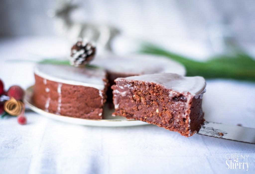 Saftiger Lebkuchen Schokoladen Kuchen Vegane Weihnachten Greeny