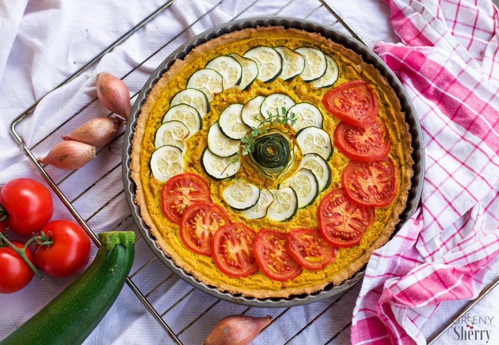 greenysherry.com Vegane Quiche Lorraine mit Gemüse Tomaten Zucchini