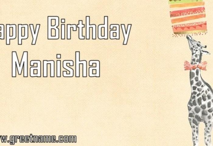 Happy Birthday Manisha Giraffe Cake Greet Name