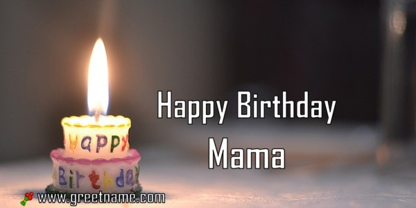 Happy Birthday Mama Candle Fire Greet Name