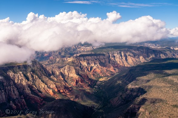 "Clouds over Oak Creek Canyon, Arizona, photographed from the ""Flying Carpet."""