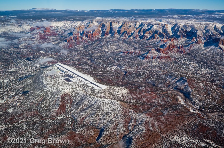 """Snow-Sparkled Sedona,"" Greg's latest ""View from the Flying Carpet"" Fine Art Aerial Photo Metal Print"