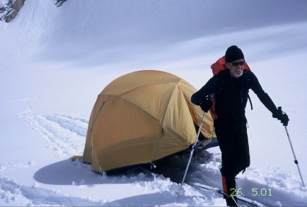 Relocating basecamp on the Cul-de-Sac Glacier in the Kichatna Spires
