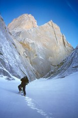 Donini approaching the north face of Aguja Poincenot, 1996