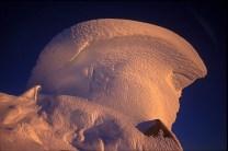 Alpinglow on Cerro Torre's summit mushroom
