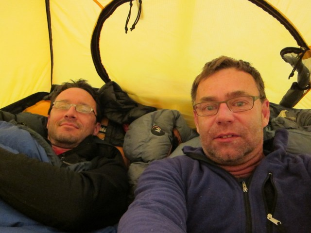 With Stephen Alvarez in our high camp tent