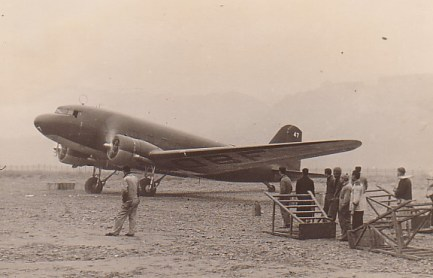 DC-3 arrives in Chungking during the Hong Kong evacuation, Dec 1941