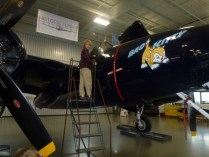 Ryan checking out the Tiger Cat cockpit at the Historic Flight Foundation