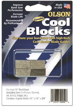 Cool Blocks Band Saw Blade Guides replace standard metal or plastic guides and enhance cutting performance!