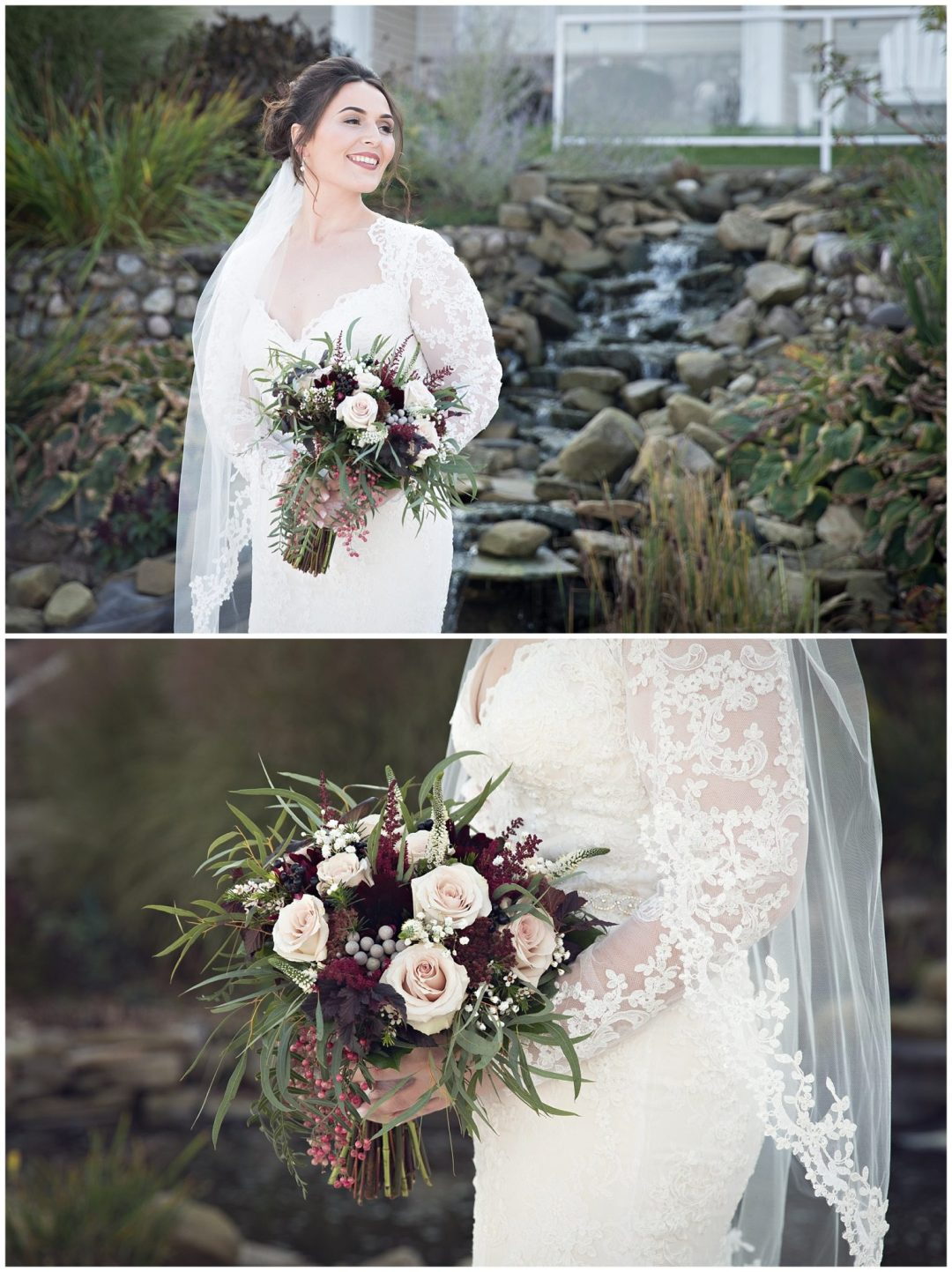 Bridal in stunning lace bridal gown with cream and Burgundy bouquet at Bay Pointe Inn on Gun Lake photographed by Melissa Gregersen Photography