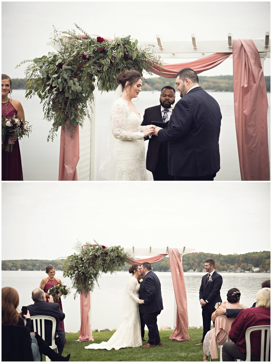 Fall colors October wedding ceremony at Bay Pointe Inn on Gun Lake photographed by Melissa Gregersen Photography