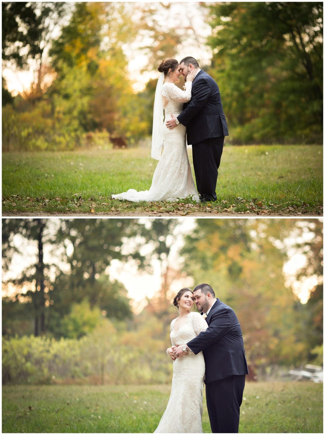 Gorgeous fall colors for bride and groom photos at Bay Pointe Inn on Gun Lake photographed by Melissa Gregersen Photography