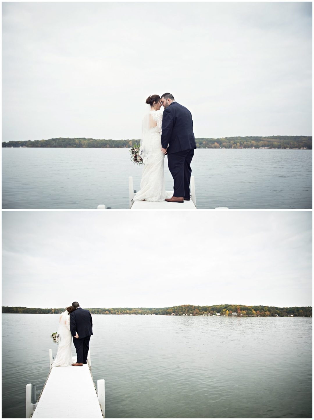 Bride and groom on the dock at Bay Pointe Inn on Gun Lake photographed by Melissa Gregersen Photography