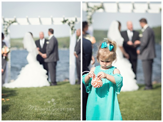Candid moment during the ceremony at Bay Pointe Inn on Gun Lake photographed by Melissa Gregersen Photography