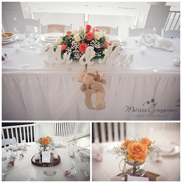 Bay Pointe Inn Wedding Reception details white peach and burlap