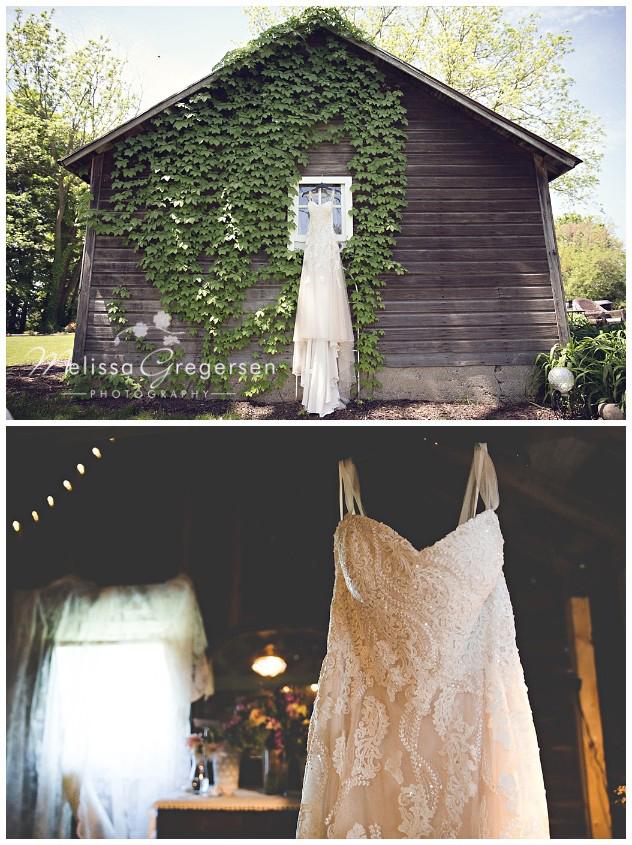 Stunning dress displayed at the vintage rose barn