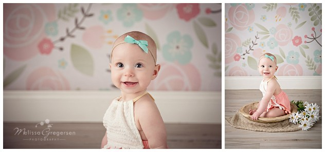 Beautiful six month Summer instudio baby girl photography session