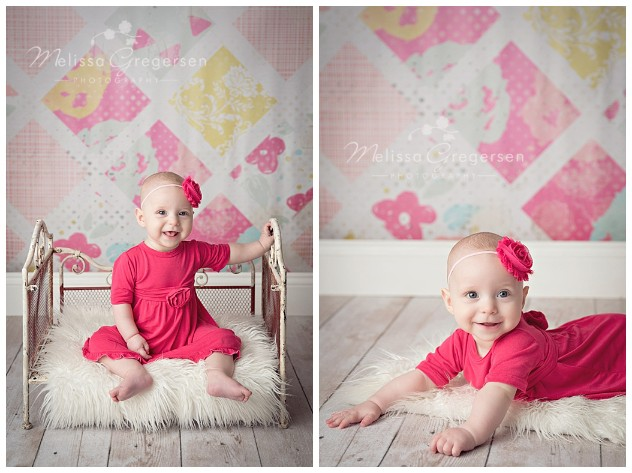 Bright pink colors for baby girl photography
