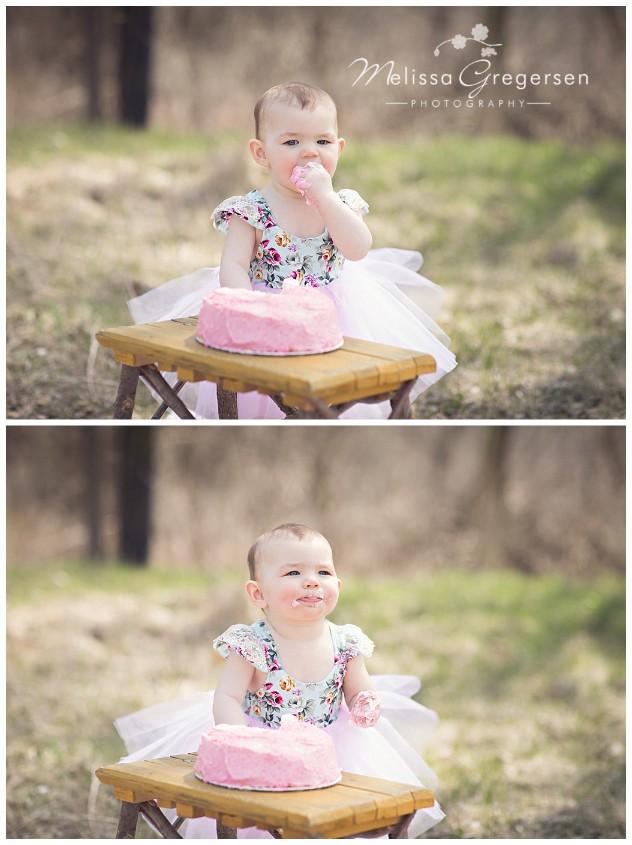 Cake smash photography session outside