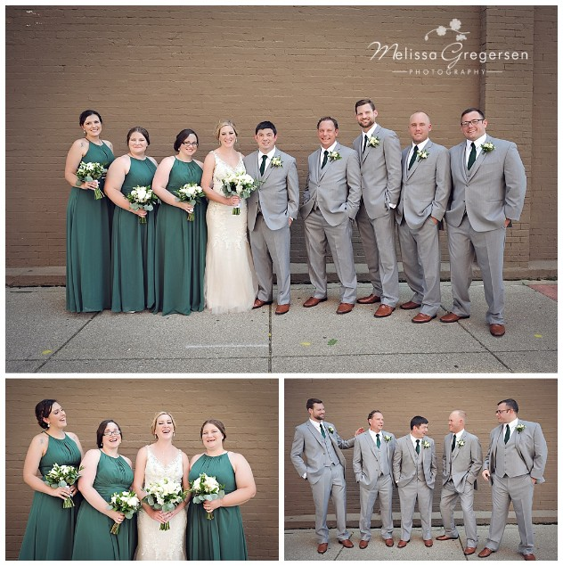 The deep green and gray colors that the bridal party wore were stunning!
