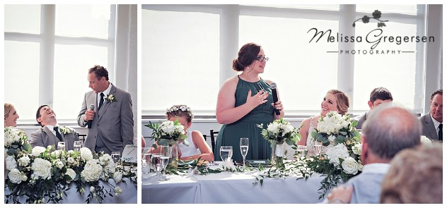 The maid of honor and best man has us chuckling during their speeches.
