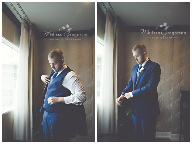 Groom looking dapper as he makes finishing touches on his look in the Upjohn Suite in the Radisson