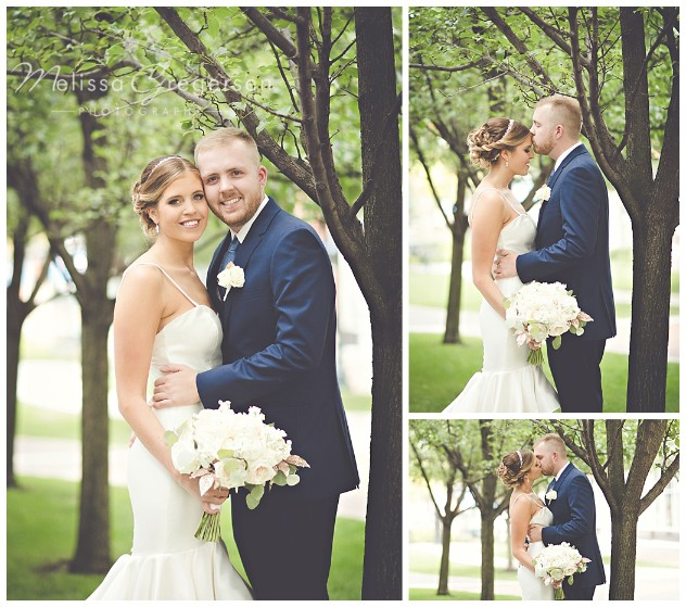 The nearby park provides a beautiful backdrop for bridal portraits.
