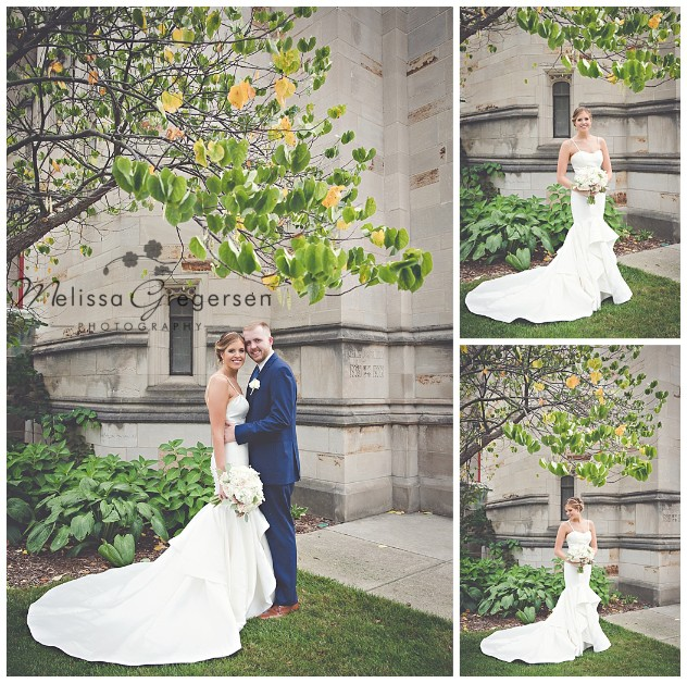 Greenery and trees make a portrait of the bride and groom very elegant.