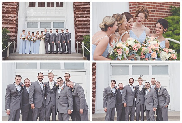 Fun bridal party shots on the steps on the church.